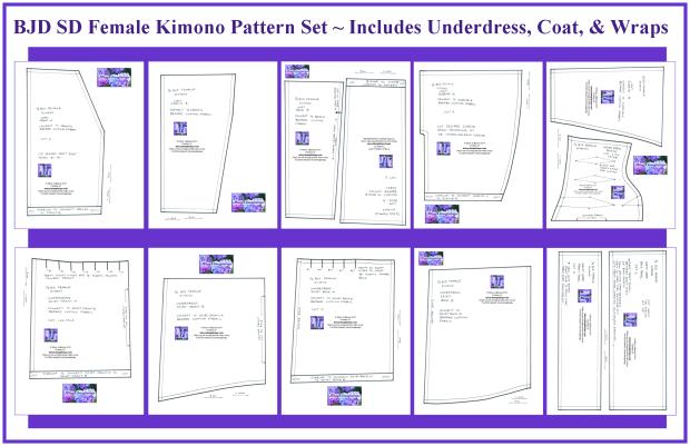 BJD SD Girl Kimono Pattern Set