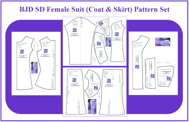 BJD SD Female Suit Pattern Set