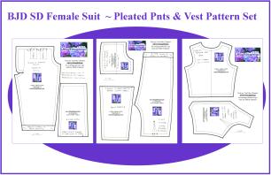 BJD SD Pleated Pants & Vest